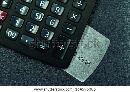 credit cards and calculator - stock photo