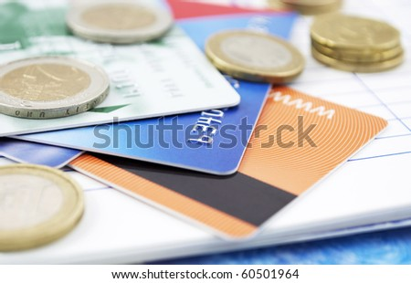 Credit cards and cash - stock photo