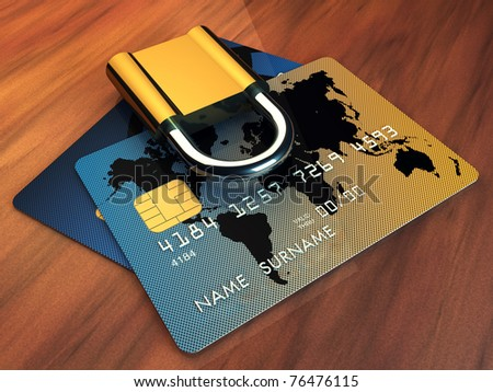 Credit cards and padlock on wooden table, 3d illustration - stock photo