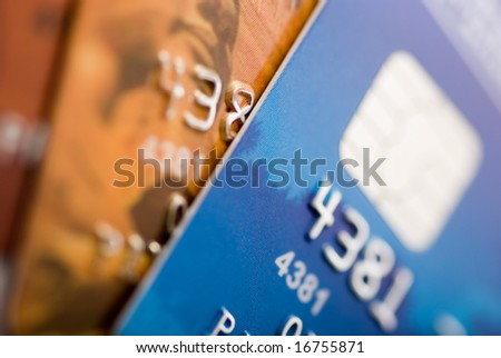 Credit cards background. Small deep of focus - stock photo