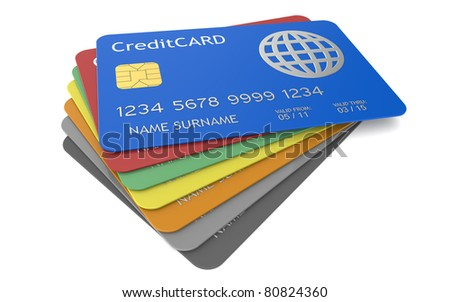 Credit Cards. Credit Cards in different colors - stock photo