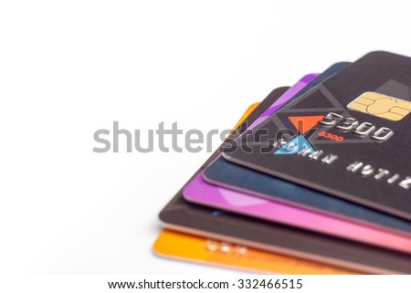 Credit cards. Finance background. Copy space for text - stock photo