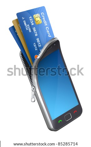Credit cards in the mobile phone - stock photo