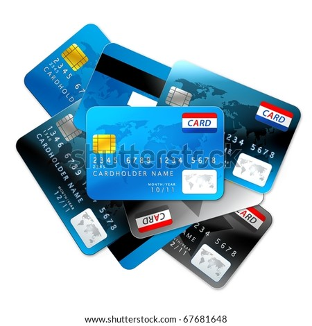 Credit cards isolated on white background