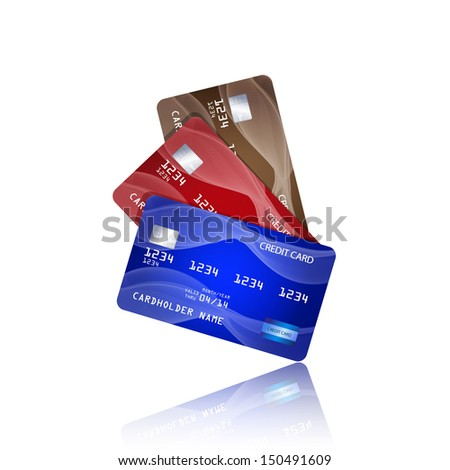 Credit cards isolated on white background. Raster version. - stock photo