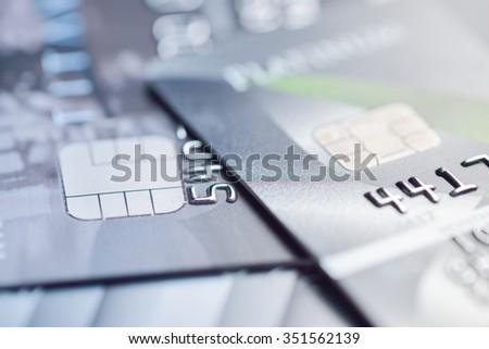 credit cards macro shot - stock photo