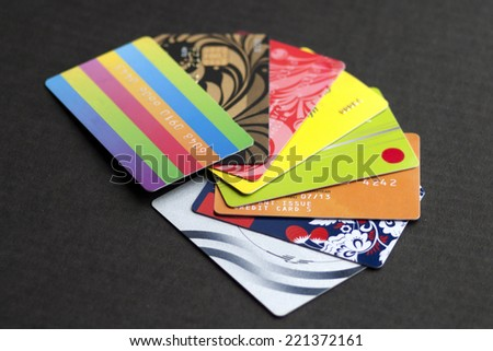 credit cards on a dark background - stock photo