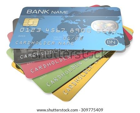 Credit Cards. Pile of 5 Credit Cards. Blue, black red, green and gold. Sample Names, Numbers and Logos. - stock photo