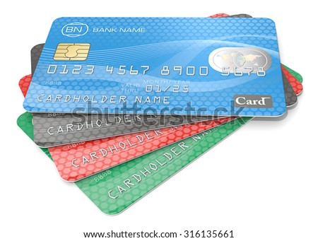 Credit Cards. Pile of 4 Credit Cards. Blue, black red, green. Generic Names, Numbers and Logos.