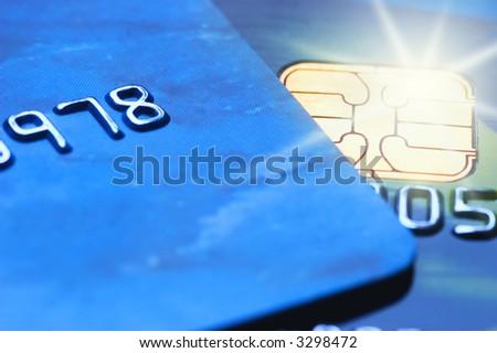 Credit cards (shallow DoF) - stock photo