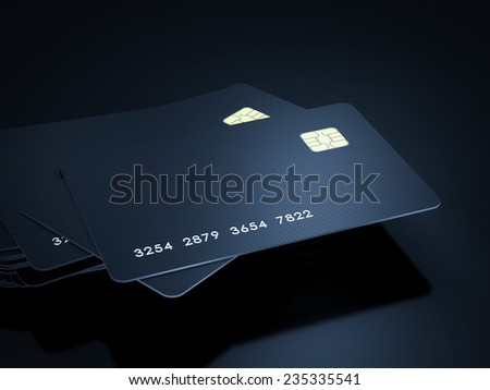 Credit cards stack on black background - stock photo