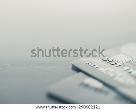 Credit cards up close with copy space - Split toned - stock photo