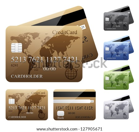 Credit cards. Vector version also available in gallery. - stock photo