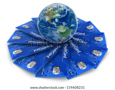 Credit Cards with Globe (clipping path included). Earth map provided by NASA - stock photo