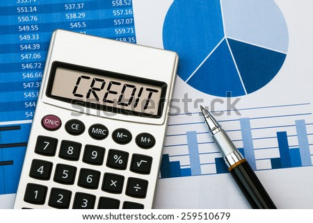 credit concept displayed on calculator - stock photo