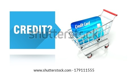 Credit concept with shopping cart and card