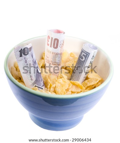 Credit crunch, financial situation in the UK. Also reflects cost of food. - stock photo