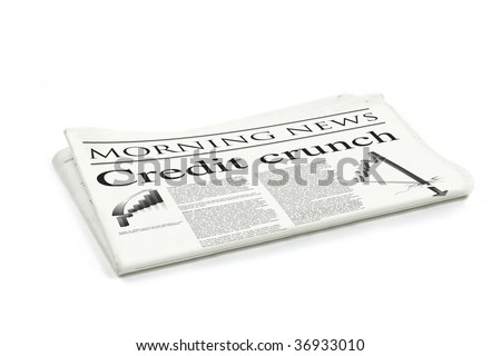 credit crunch headline on a generic design newspaper - stock photo