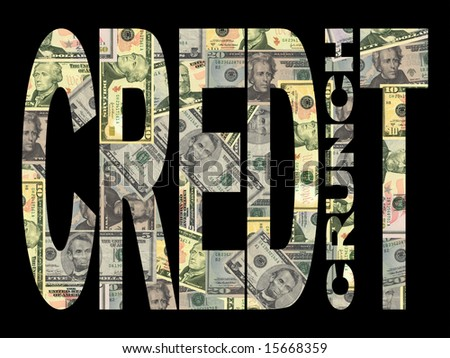 Credit Crunch text with American dollars background - stock photo