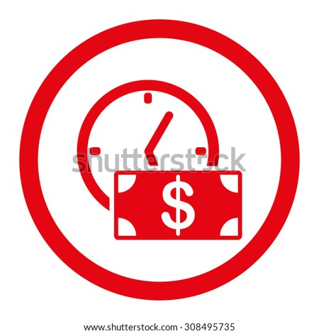 Credit glyph icon. This flat rounded symbol uses red color and isolated on a white background. - stock photo