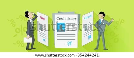 Credit history ban and good. Raster version - stock photo