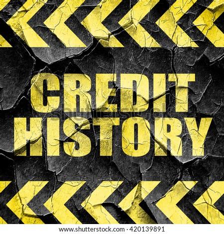 credit history, black and yellow rough hazard stripes - stock photo