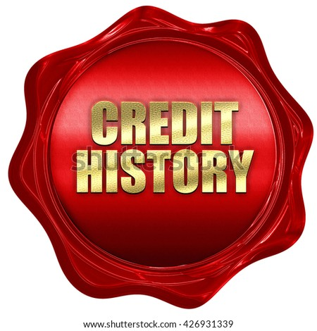 credit history, 3D rendering, a red wax seal - stock photo