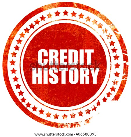 credit history, grunge red rubber stamp with rough lines and edg - stock photo