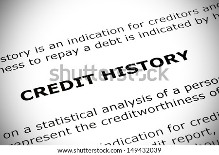 Credit History heading printed on a white page with vignetting effect. - stock photo