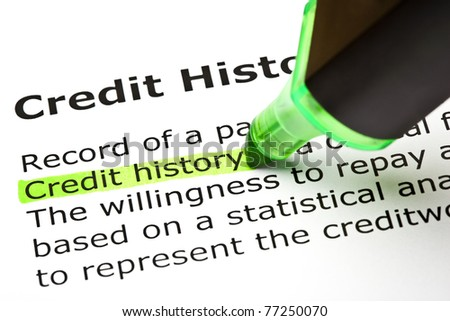 Credit history highlighted in green, under the heading Credit History. - stock photo