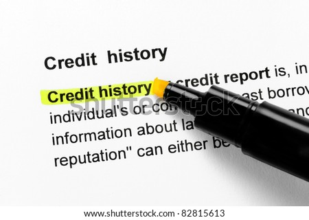Credit history text highlighted in yellow, under the same heading