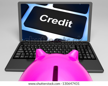 Credit Key On Laptop Shows Cashless Purchases Or Money Loan