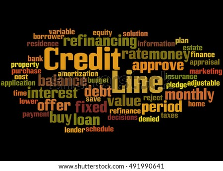 Credit Line, word cloud concept on black  background.