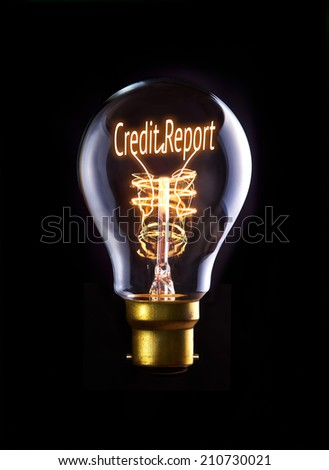 Credit Report concept in a filament lightbulb. - stock photo