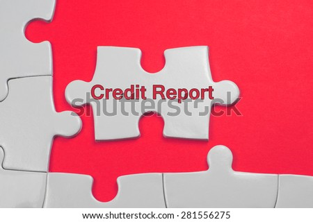 Credit Report on white puzzle - Business Concept - stock photo