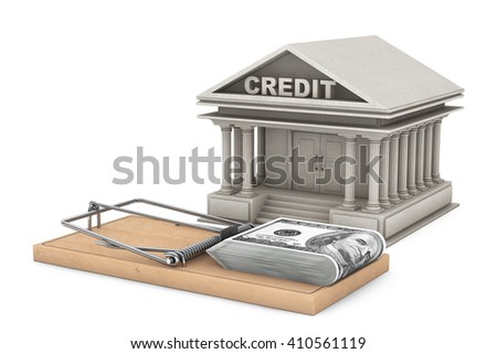 Credit Risk Concept. Mouse trap with money against Bank Building on a white background. 3d Rendering - stock photo