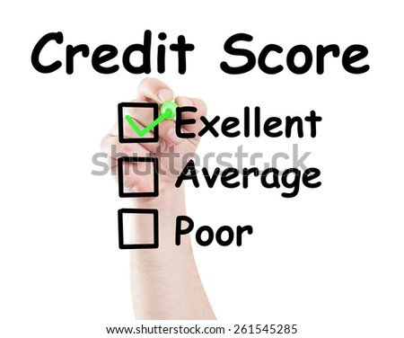 Credit score excelent checked box made by hand using a marker on transparent wipe board with white background - stock photo