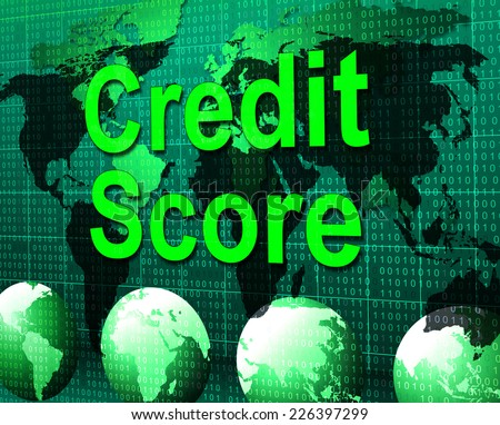 Credit Score Representing Debit Card And Cashless