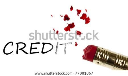 Credit word erased by pencil eraser - stock photo