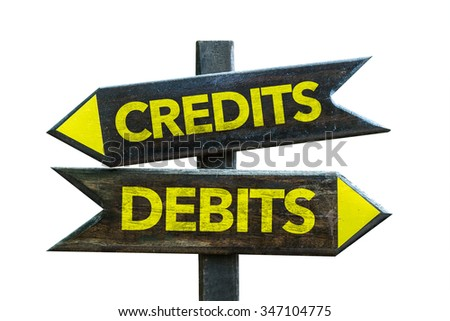 Credits - Debits signpost isolated on white background
