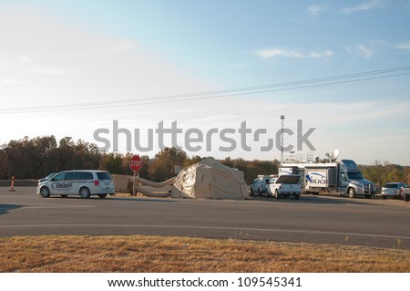 CREEK COUNTY, OKLAHOMA - AUGUST 6 2012: command post of the Police of Bureau of Indian Affairs after wildfires burned 60 000 acres and dozens of homes on August 6, 2012 in Creek County, Oklahoma, USA