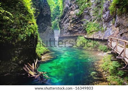 creek in hazy canyon - stock photo