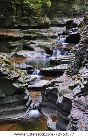 creek in mountain with rocks and stream in Watkins Glen state park in New York State