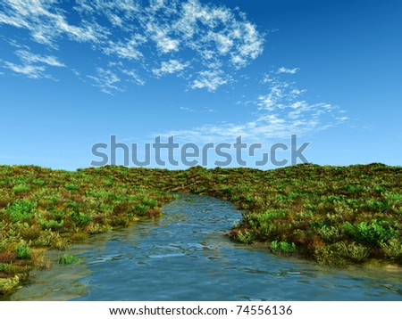creek in summer - stock photo