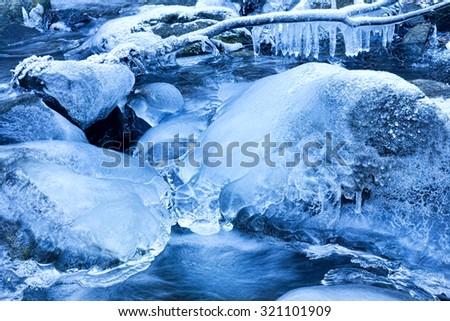 creek in winter - stock photo