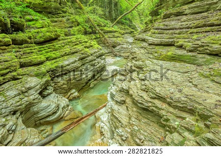 Creek with pure water in the deep canyon. - stock photo
