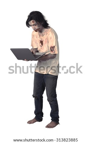 Creepy asian male zombie typing with laptop isolated over white background - stock photo