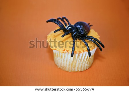 Creepy black spider on top of a yummy orange frosted cupcake on an orange background. - stock photo