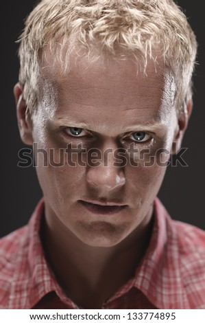 Creepy Caucasian Man In The Darkness - stock photo