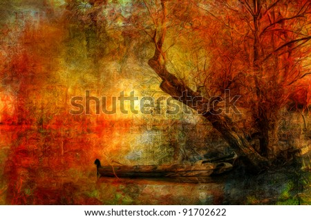 Creepy colorful landscape painting showing boat on the river under the old tree on dark autumn day. - stock photo
